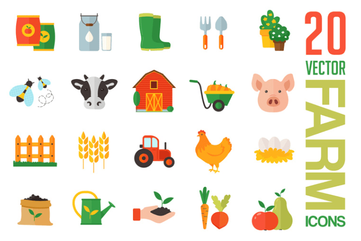 Farm Free Icons Vector Template