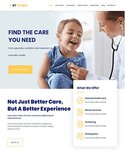 GT Clinic – Free Responsive Hospital WordPress theme