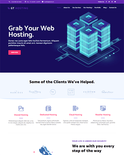 GT Hosting – Free Responsive Hosting WordPress theme
