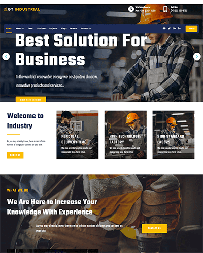 GT Industrial – Free Responsive Factory WordPress theme