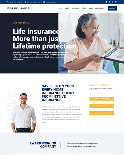 GT Insurance – Free Responsive Insurance WordPress theme
