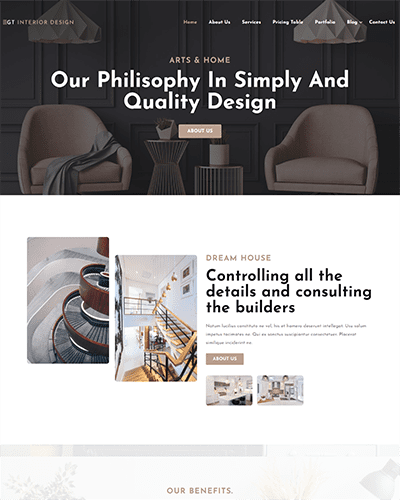 GT Interior Design – Free Responsive Architecture WordPress theme