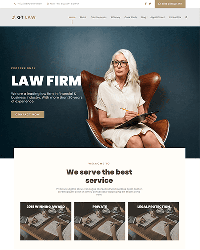 GT Law – Free Responsive Law Firm WordPress theme