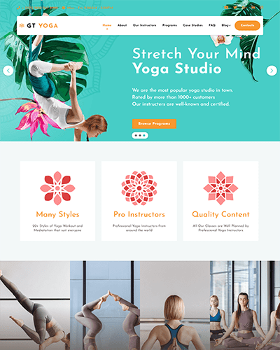 GT Yoga – Free Responsive Fitness WordPress theme