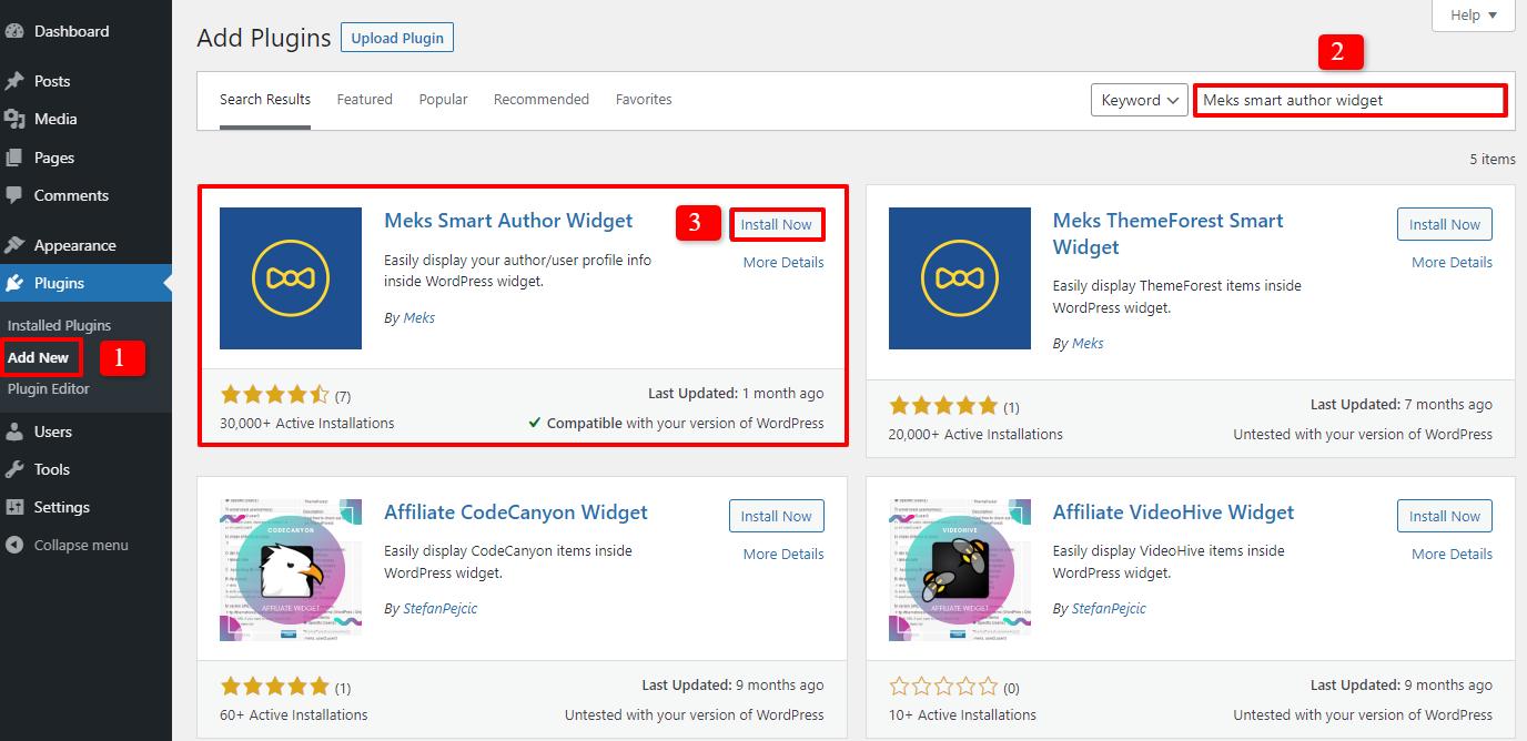 display author info with widget 1