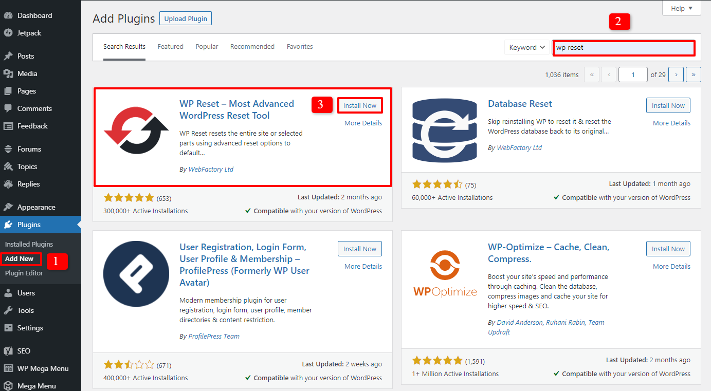 how to reset a wordpress site 1