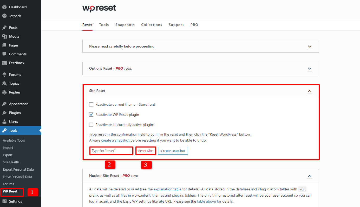how to reset a wordpress site 2